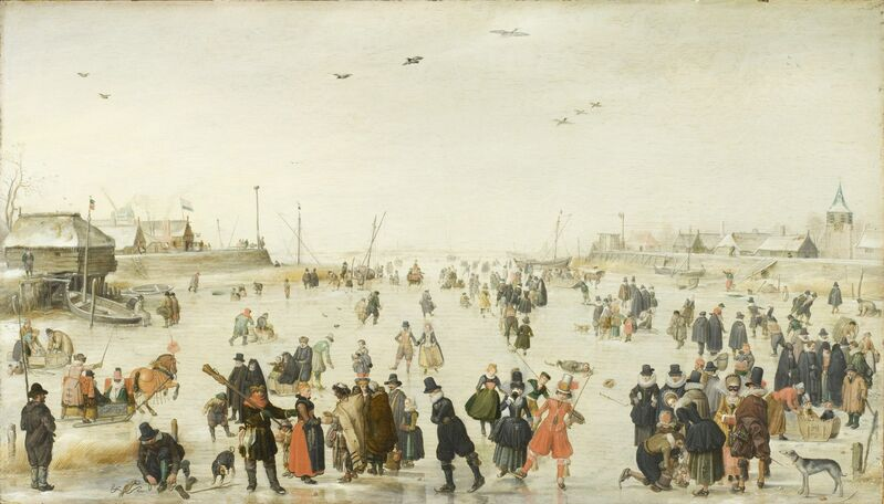 Hendrick Avercamp, 'Winter Scene on a Frozen Canal', ca. 1620, Painting, Oil on wood, Los Angeles County Museum of Art