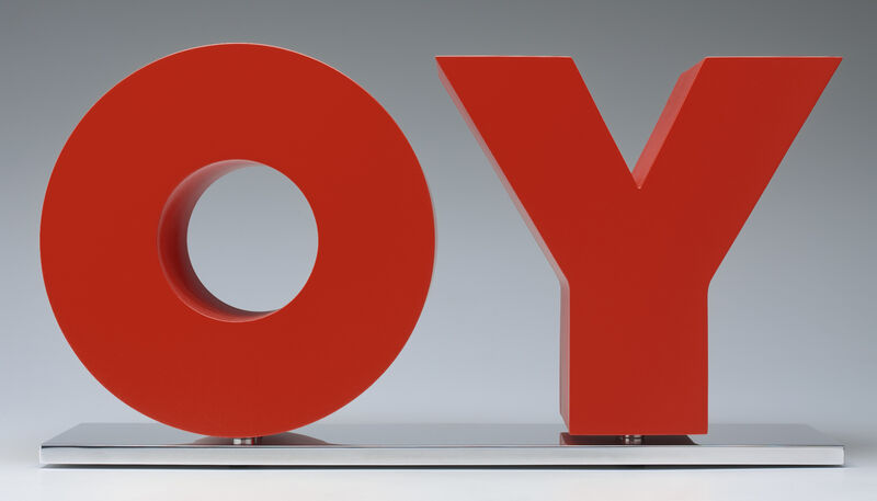 Deborah Kass, 'OY/YO (Red)', 2013, Sculpture, Red powder coat with high gloss clear coat on solid aluminum on polished aluminum base, Gavlak