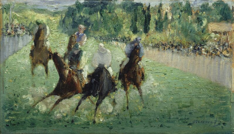 Édouard Manet, 'At the Races', ca. 1875, Painting, Oil on wood, National Gallery of Art, Washington, D.C.