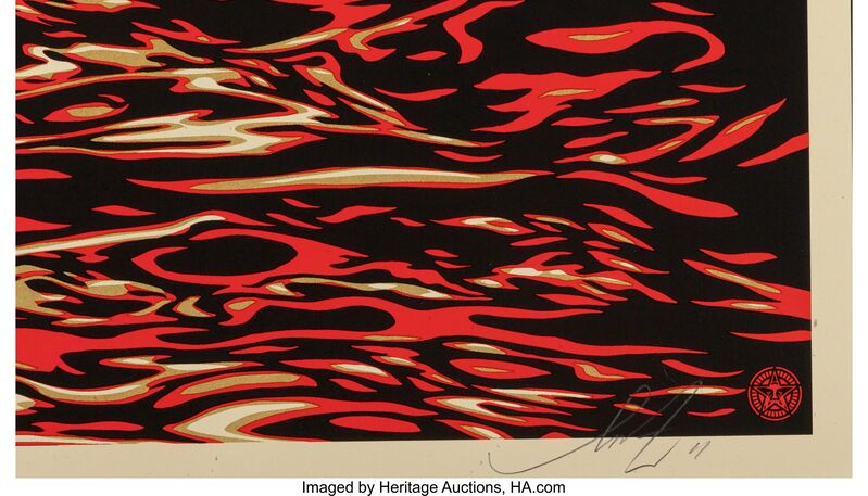Shepard Fairey, 'Dark Wave/Rising Sun, for Tsunami Victims', 2011, Print, Screenprint in colors on speckled paper, Heritage Auctions