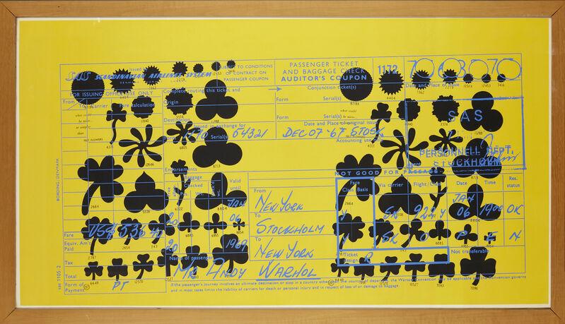 Andy Warhol, 'SAS Passenger Ticket [Feldmann & Schellman II. 20]', 1968, Print, Screenprint in colours on wove, Roseberys