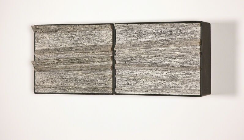 Carlos Nogueira, 'olhou para ele durante muito tempo . continuou  então a desenhar | he looked at it for a long time . then he continued to draw (diptych)', 1997, Sculpture, Iron, wood, acrylic and graphite, 3+1 Arte Contemporânea
