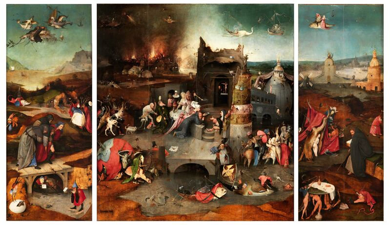 Hieronymus Bosch, 'Triptych of the Temptation of Saint Anthony', 1506, Painting, Oil on panel, Museo Nacional del Prado