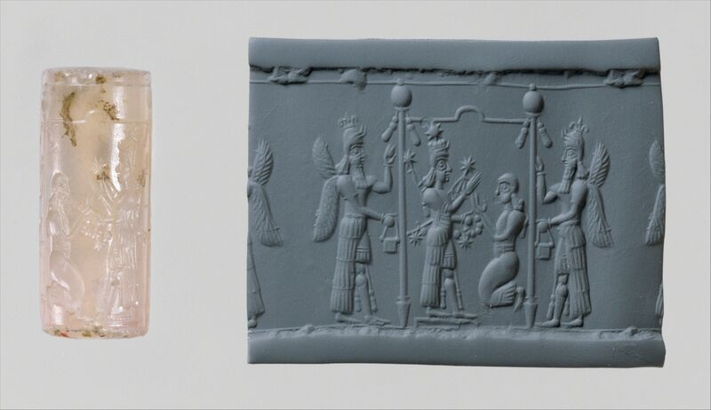 Unknown Assyrian, 'Cylinder seal and modern impression: Ishtar image and a worshiper below a canopy flanked by winged genies', ca. 8th–7th century B.C., Other, Chalcedony, The Metropolitan Museum of Art