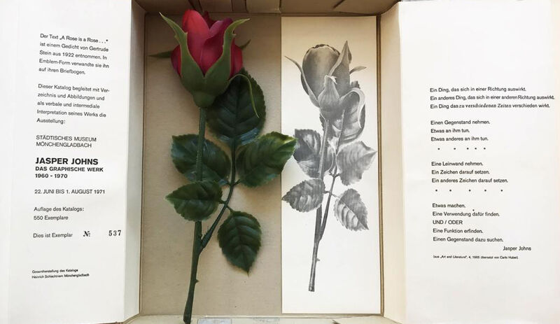 Jasper Johns, 'Rose & Scroll', 1970-1977, Print, Catalogue in a box containing a plastic rose, three scrolls, and a rose bookmark/print, Hamilton-Selway Fine Art