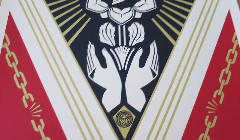Shepard Fairey, 'Peace Justice', 2018, Print, Speckletone paper, AYNAC Gallery