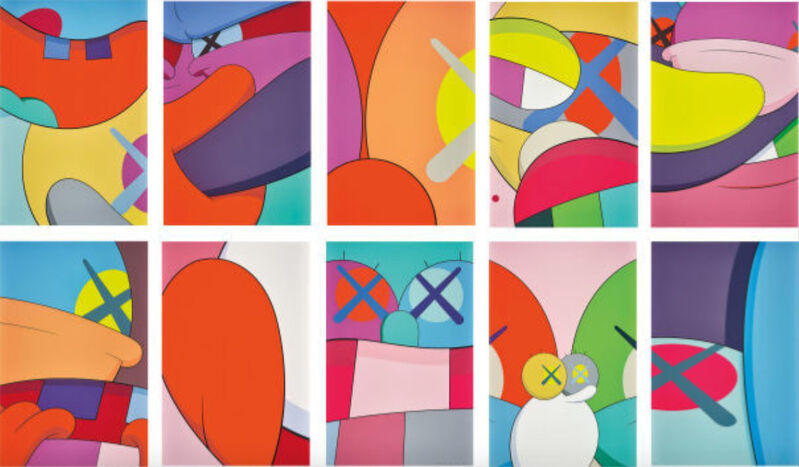 KAWS, 'No Reply', 2015, Print, The complete set of 10 screenprints in colors, on wove paper, the full sheets, with the original blue fabric-covered portfolio with embossed title, Upsilon Gallery