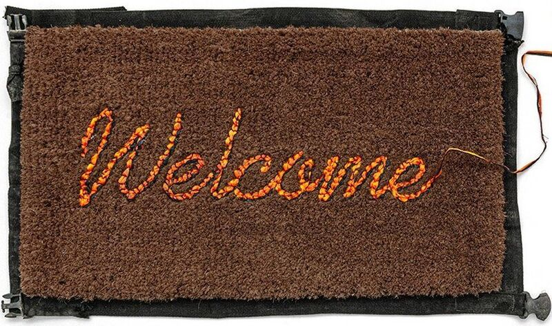 Banksy, 'Welcome Mat', 2020, Ephemera or Merchandise, Hand-stitched mat and life vests fabric, Blackline Gallery