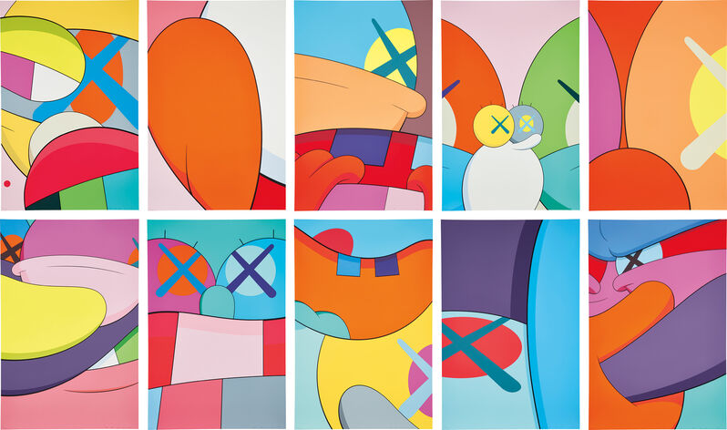 KAWS, 'NO REPLY', 2015, Books and Portfolios, The complete set of 10 screenprints in colors, on wove paper, the full sheets, with the original blue fabric-covered portfolio with embossed title., Phillips