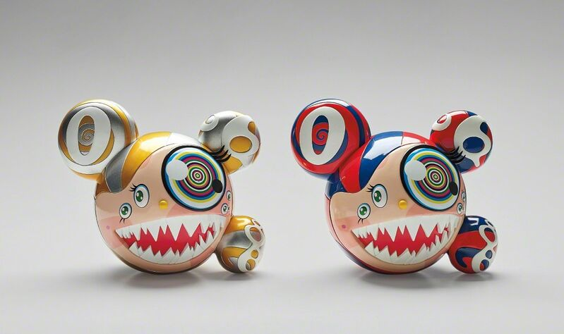 Takashi Murakami, 'ComplexCon: Mr. Dob (Red/Blue); and ComplexCon: Mr. Dob (Gold)', 2016, Sculpture, Two vinyl multiples with hand-printing in colours, each contained in the original silk-lined, printed cardboard boxes., Phillips