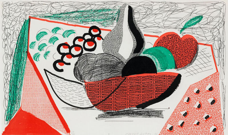 David Hockney, 'Apples Pears & Grapes, May 1986', 1986, Print, Homemade Print on Arches laid text paper, Kenneth A. Friedman & Co.