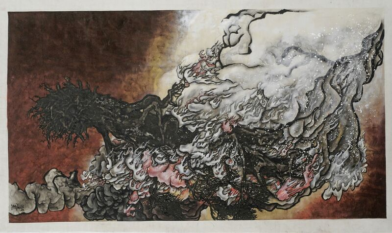 Yang Jiechang 杨诘苍, 'St-Arbre-Feu Blanc', 2010, Painting, Ink and mineral colours on silk mounted on canvas, Jeanne Bucher Jaeger