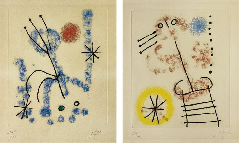 Joan Miró, 'Feuilles éparses (Scattered Leaves): two plates', 1957, Print, Two etching and aquatints in colours, on BFK Rives paper, with full margins., Phillips