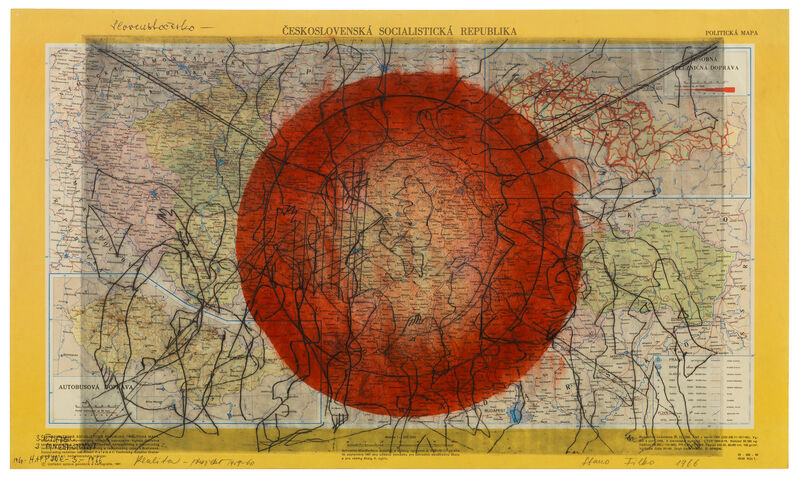 Stano Filko, 'Reality', 1966, Drawing, Collage or other Work on Paper, Monotype on map, The Mayor Gallery