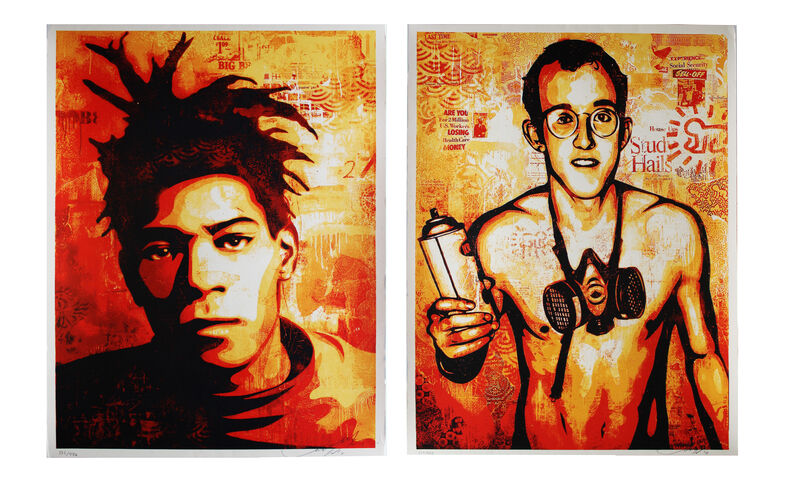 Shepard Fairey, 'Basquiat and Haring set of 2', 2010, Print, Screenprint on cream speckle tone paper, EHC Fine Art