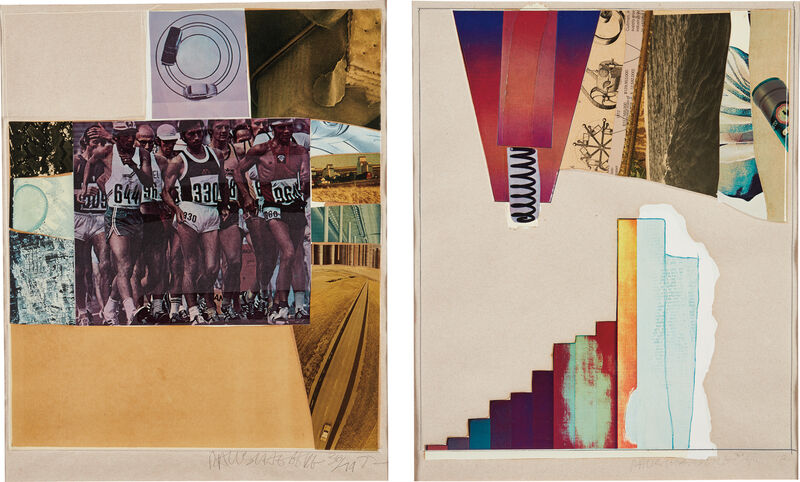 Robert Rauschenberg, 'Horsefeathers Thirteen-VII; and Horsefeathers Thirteen-VIII, from Horsefeathers Thirteen Series', 1976, Print, Two offset lithographs with screenprint, pochoir, collage, and embossing in colors, on Jeff Goodman handmade buff paper, with full margins., Phillips
