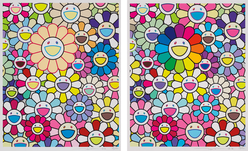 Takashi Murakami, 'Field of Flowers; and Flowers of Hope', 2020, Print, Two archival pigment prints in colours, on smooth wove paper, with full margins., Phillips