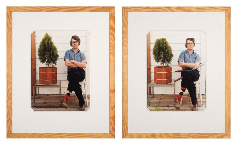 Ger van Elk, 'The Haircut, Big Cut, Big Savings', 1971, Photography, Diptych; 2 color photographs, Galerie Bob van Orsouw