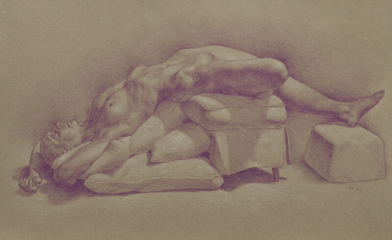 Sarah Lacy, 'Daydreamer', 2017, Drawing, Collage or other Work on Paper, Coloured pencil & white chalk on toned pastel paper, 33 Contemporary