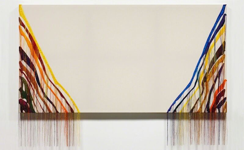 Kyungah Ham, 'Abstract Weave / Morris Louis Untitled 1960 NB001-02', 2014, Textile Arts, North Korean Machine Embroidery, silk threads on cotton, middleman, anxiety, censorship, wooden frame, collected world internet news articles, tassel, carlier | gebauer