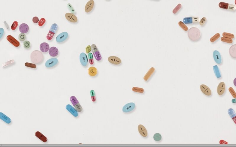 """Damien Hirst, 'Remedy Painting """"These Days"""".', 2008/2009, Painting, Metal, resin, plaster pills and watercolour on canvas stretched on aluminum. Unique work., MultiplesInc Projects"""