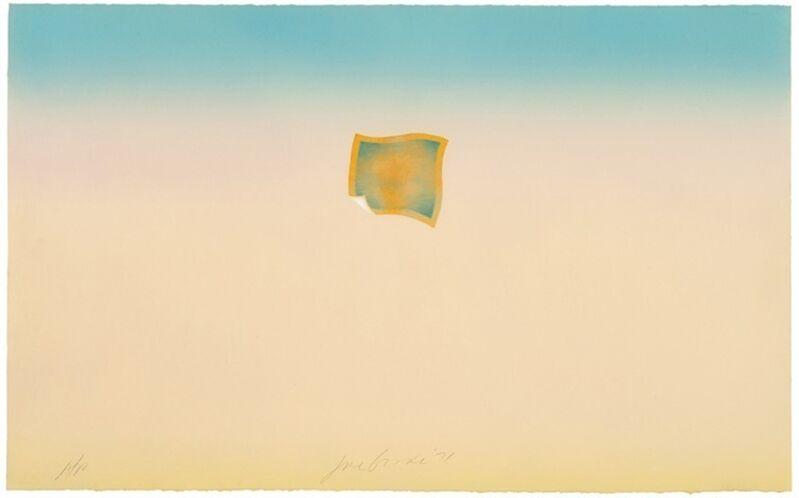 Joe Goode, 'Untitled (small orange photo on peach and blue background)', 1971, Print, Screenprint, Bernard Jacobson Gallery