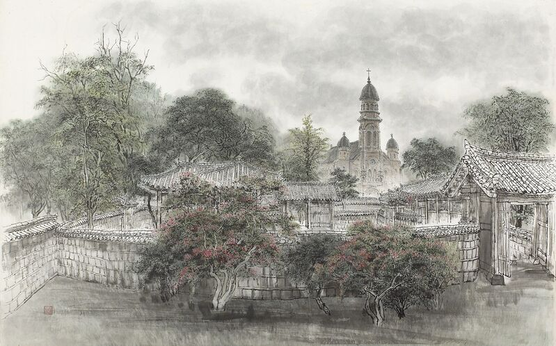 Sook Young Ryu, 'Catholic Church in Jeondong, Jeonju', 2008, Painting, Chinese ink on Korean paper, Gallery Doll