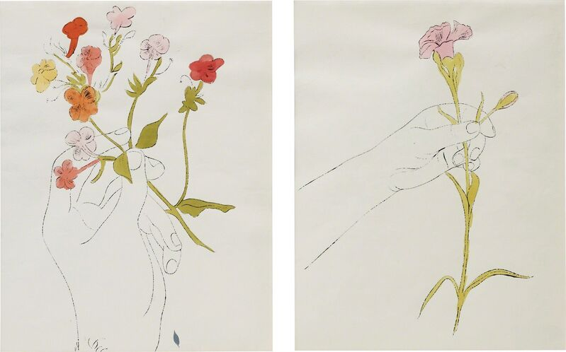 Andy Warhol, 'Hand with Flowers and Carnation/Diptychon', ca. 1961, Drawing, Collage or other Work on Paper, Pen and oil on paper, Phillips