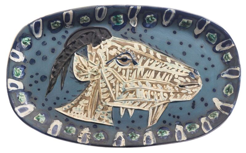 Pablo Picasso, 'Madoura Ceramic Plate- Tête de chèvre de profil, Ramié 145', 1950-1959, Sculpture, Ceramic, Earthenware, Hirth Fine Art