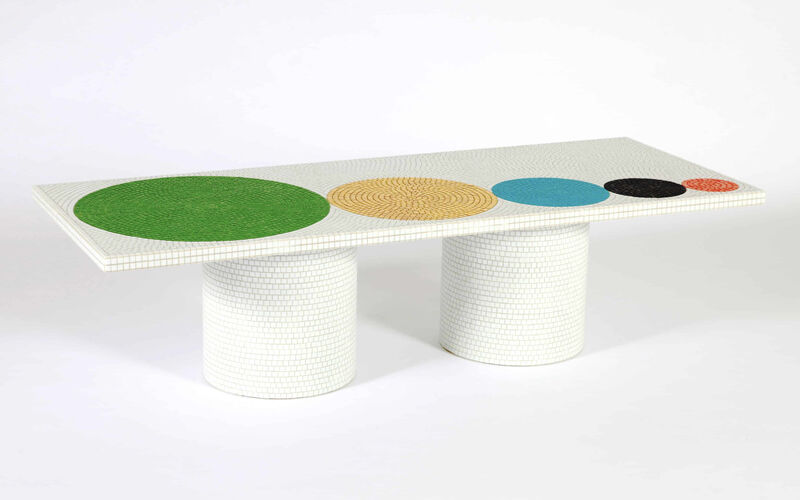 Pierre Charpin, 'Crescendo White coffee table', 2012, Design/Decorative Art, Metal structure covered with mosaic work by Bisazza, Galerie kreo