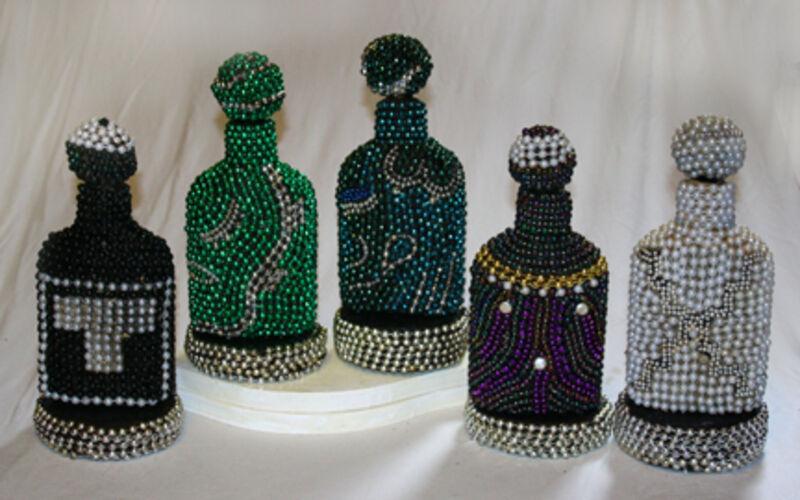 Anne Bouie, 'Mayan Day Signs: North (Ik, Cimi, Oc, Ix, and Etznab)', Sculpture, Mortar, Beads, Glass Bottles, Zenith Gallery