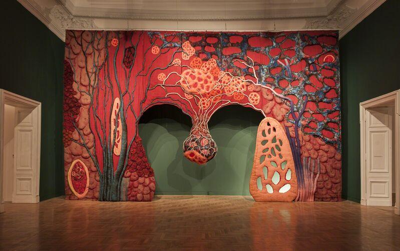 Piotr Uklanski, 'Untitled (Open Wide)', 2012, Installation, Fiber-active dye on oxidized jute and hemp textile, polyester batting, Gagosian