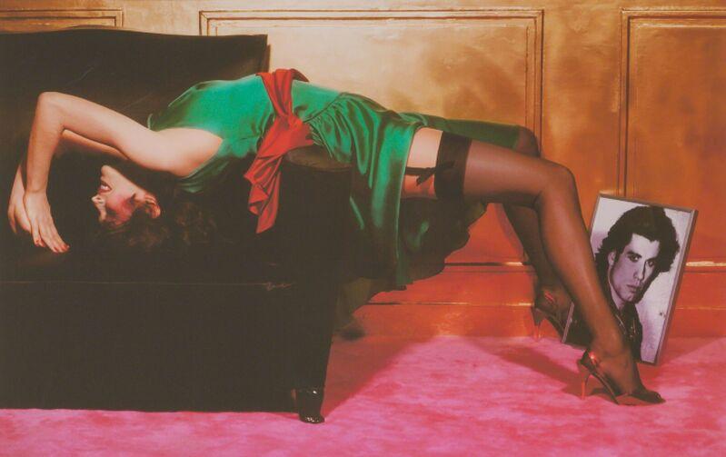 Guy Bourdin, 'Woman with portrait of John Travolta', Photography, Digital chromogenic print printed posthumously, Doyle