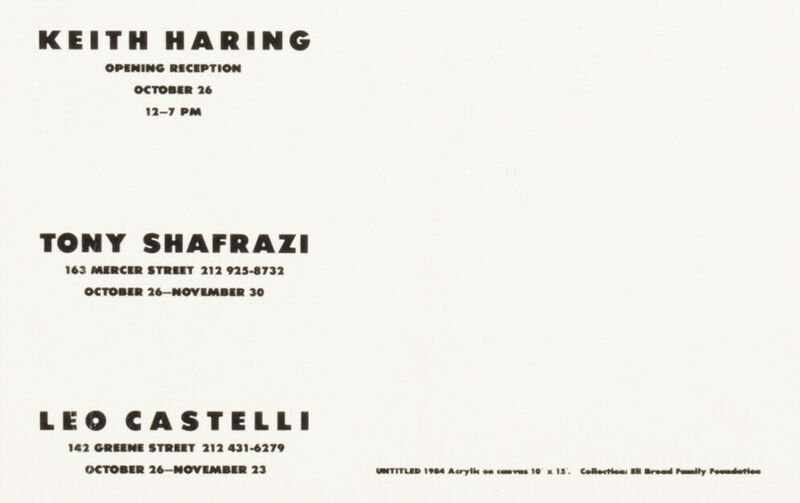 Keith Haring, 'Keith Haring at Tony Shafrazi & Leo Castelli Gallery 1985 (announcement) ', 1985, Ephemera or Merchandise, Offset printed gallery announcement, Lot 180