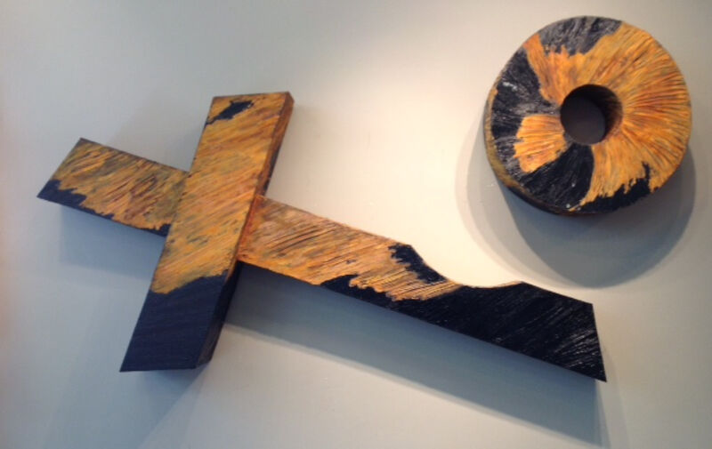 Mary Hourihan Lynch, 'Blowing a Kiss', Sculpture, Oil and Rust on Canvas, Zenith Gallery