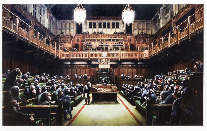 Banksy, 'Monkey Parliament', 2009, Print, Offset lithograph in colours on smooth wove paper, Tate Ward Auctions