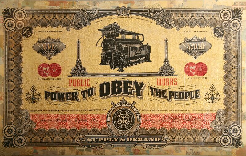 Shepard Fairey, 'Two Sides of Capitalism: Good', 2007, Mixed Media, Mixed media on wood, Jonathan LeVine Projects