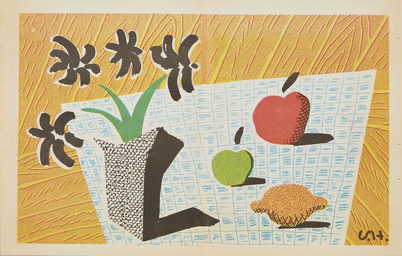 David Hockney, 'Two Apples, One Lemon and Four Flowers', 1997, Photography, Photolithograph in colours on newspaper, Roseberys