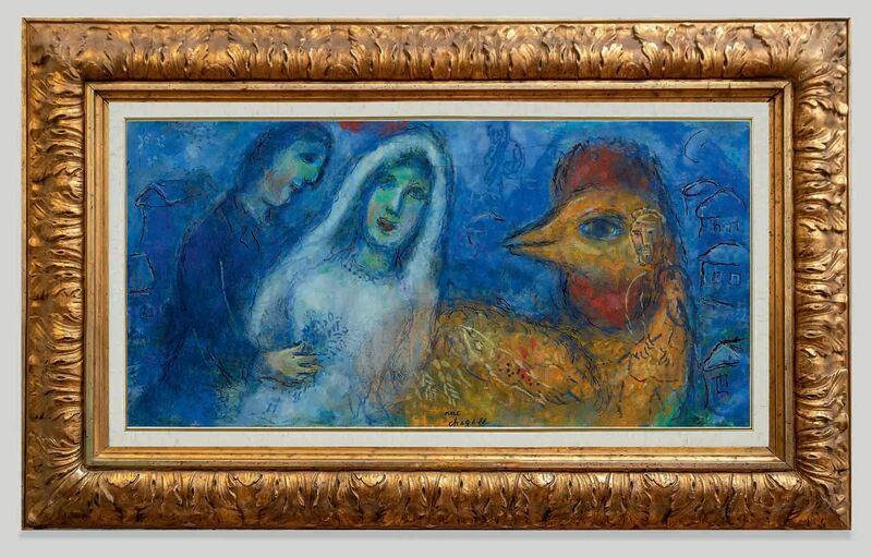 Marc Chagall, 'The newlyweds with rooster ', ca. 1975, Painting, Oil, tempera, ink and India ink on canvas laid down on panel, Opera Gallery