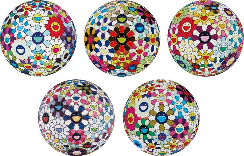 Takashi Murakami, 'Flower Ball (3-D) Sequoia sempervirens; Flower Ball (Lots of Colors); Flowerball sexual Violet No. 1 (3D); Right There, The Breadth of the Human Heart; and Autumn 2004', 2013, Print, Five offset lithographs in colours, on smooth wove paper, the full sheets., Phillips