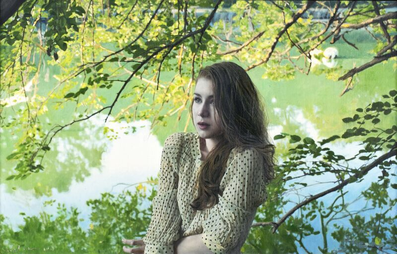 Yigal Ozeri, 'Untitled; Megan in the Park', 2011, Painting, Oil on paper on wood, Louis K. Meisel Gallery