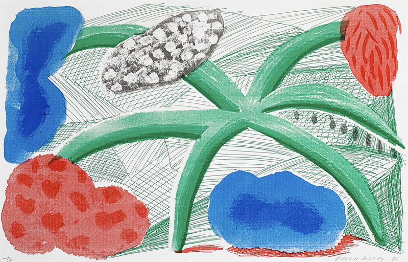 David Hockney, 'Landscape with a Plant', 1986, Print, A homemade print executed on a office colour copy machine on Arches paper, Oliver Clatworthy Gallery Auction