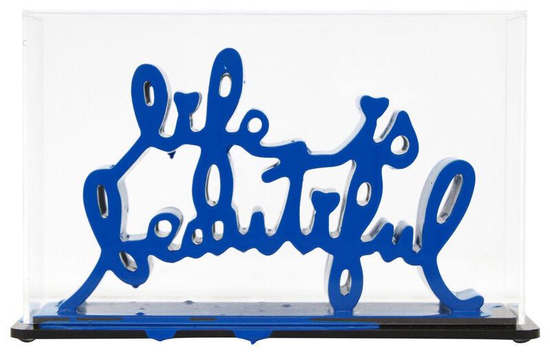 Mr. Brainwash, 'Life Is Beautiful - Dipped Dark Blue', 2020, Sculpture, Acrylic dipped cast resin sculpture in plexiglass enclosure, Taglialatella Galleries