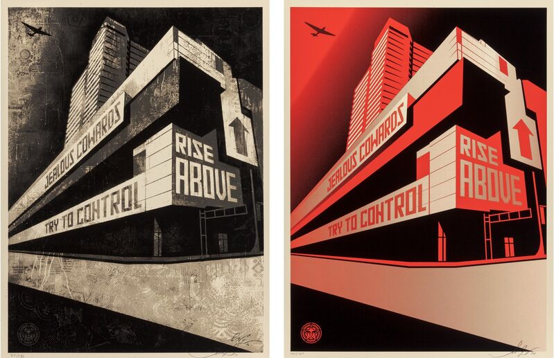 Shepard Fairey, 'Supply and Demand: 20 Year Retrospective, exhibition posters (two works)', 2010, Posters, Screenprints in color on speckled cream paper, Heritage Auctions