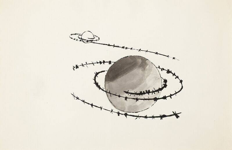 Andy Warhol, 'Untitled (Saturn)', circa 1954, Drawing, Collage or other Work on Paper, Gouache and ink on paper, Forum Auctions