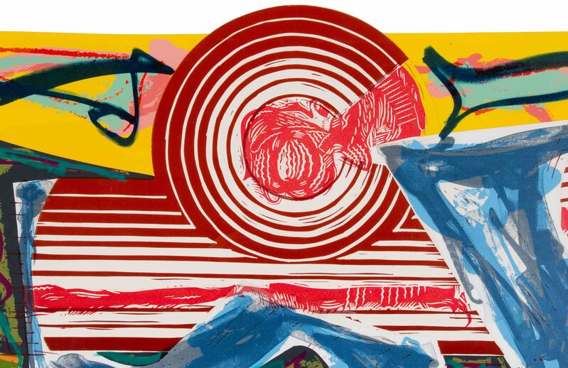 Frank Stella, 'Then Water Came and Quenched the Fire (from Illustrations after El Lissitzky's Had Gadya)', 1984, Print, Lithograph, linoleum cut and screenprint in colors with handcoloring and collage, Hindman