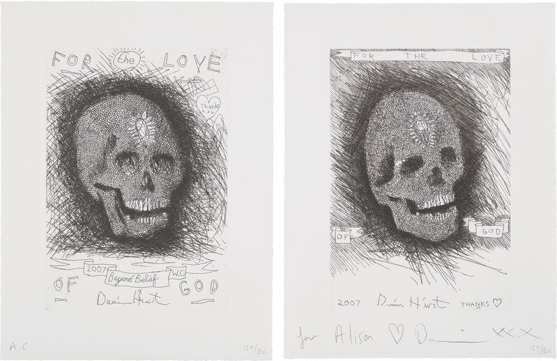 Damien Hirst, 'For the Love of God, Beyond Belief', 38899, Print, The pair of etchings, on wove paper, with full margins., Phillips