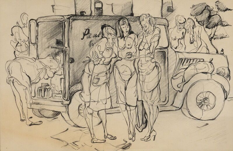 Andy Warhol, 'Women and Produce Truck', 1946, Drawing, Collage or other Work on Paper, Andy Warhol Museum