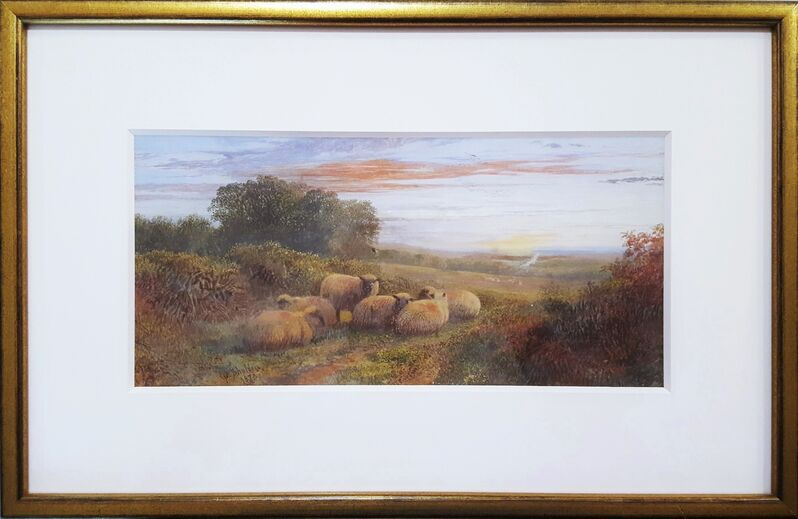 George Shalders, 'Sheep in Landscape at Dusk', 1873, Drawing, Collage or other Work on Paper, Watercolor/Gouache on Paper, Graves International Art