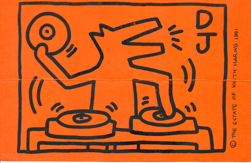 Keith Haring, 'Keith Haring DJ Dog announcement 1991 (DJ Clark Kent, Keith Haring Foundation)', 1991, Ephemera or Merchandise, Offset printed announcement, Lot 180